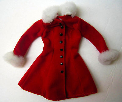 Genuine Barbie Clothes RED LONG COAT w/ White Fluffy Trim & Black Buttons Mattel