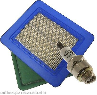 Genuine Briggs and Stratton Spark Plug & Aftermarket Air Filter replace 491588