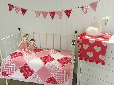 Shabby Chic Girls Baby Scarlet Cot Quilt Vintage Floral RuffleTrim