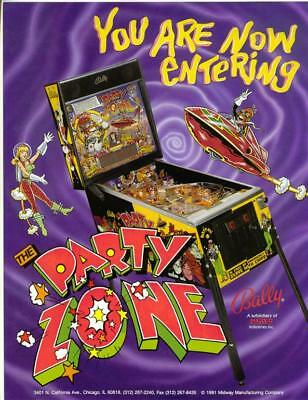On Sale...... PARTY ZONE By BALLY 1991 ORIGINAL NOS PINBALL MACHINE SALES FLYER