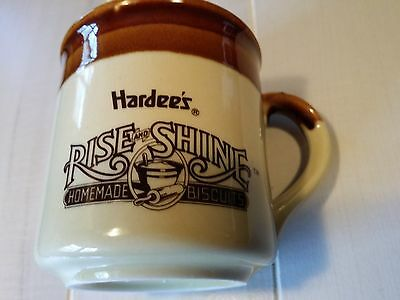 Vintage Brown Hardee's Rise and Shine Handmade Biscuits Coffee Mug Cup EUC