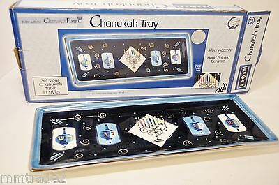 Rite Lites Blue Hand Painted Ceramic CHANUKAH TRAY Silver Accents Raised Details
