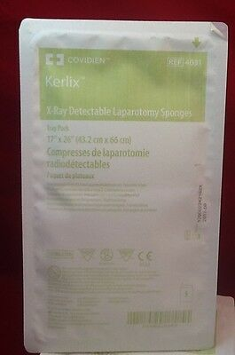 "NEW LOT OF 20 COVIDIEN KERLIX X-RAY Detectable Lap Sponge Disposable 17x26"" 4031"