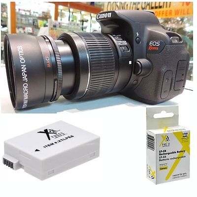 58MM 2x Telephoto Zoom Lens + LP-E8 BATTERY for Canon Rebel EOS T3 T4 T5 T5I