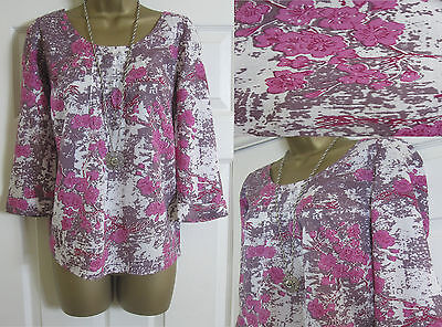 New White Stuff Ladies Blossom Floral Summer Top Blouse Tunic Pink Size 8-18