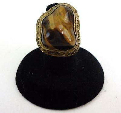 Antique Chinese Export Silver Filigree Gold Womens Tiger's Eye Adjustable 5 Ring