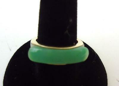 Antique Chinese Export 14K Gold jade jadeite Apple Green White Archers Ring Band