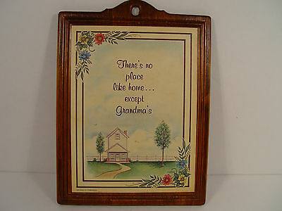 Vintage Wood Plaque There's No Place Like Home Except Grandma's - FREE SHIPPING!