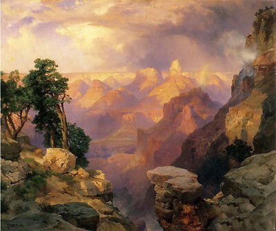 Art oil painting Thomas Moran - Grand Canyon with Rainbows with mountains trees