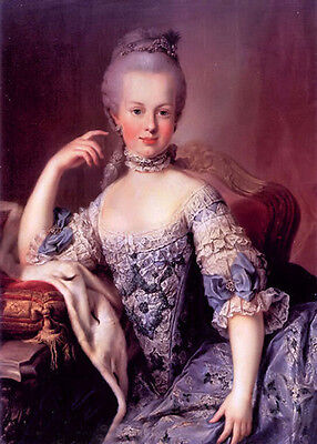 Huge oil painting beautiful young noblelady Marie Antoinette seated no framed
