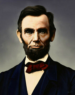 Excellent Oil painting male portrait Abraham Lincoln free shipping canvas