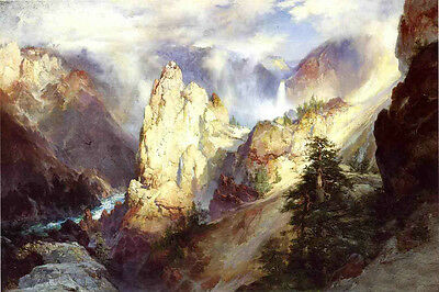 Oil painting Thomas Moran - Mountains Landscape with creek crossing the Canyon
