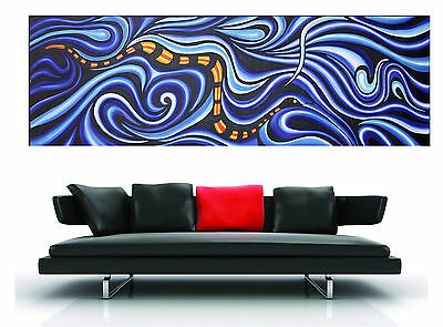 150cm x 50cm  art painting print snake serpent dreaming inspired by aboriginal