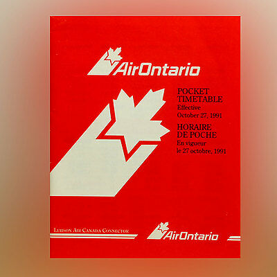 Air Ontario Airlines - Airline Timetable - October 27, 1991