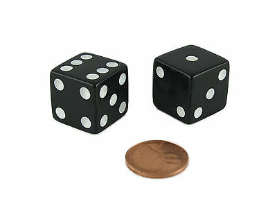 Set of 2 Square Edged Large 19mm Dice Die D6 6 Six Sided RPG D&D Opaque Black