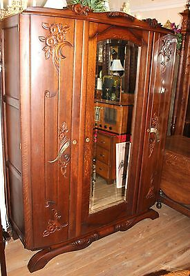 Beautiful French Antique Solid Oak Art Deco 3 Door Armoire.