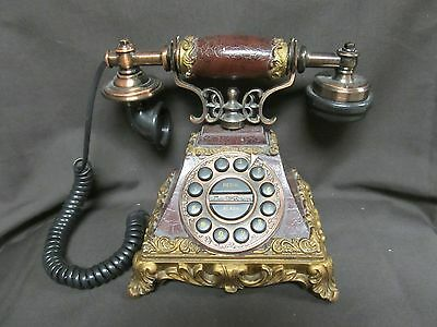 European Style Old Vintage Telephone Replica Antique Decor Gold Edging