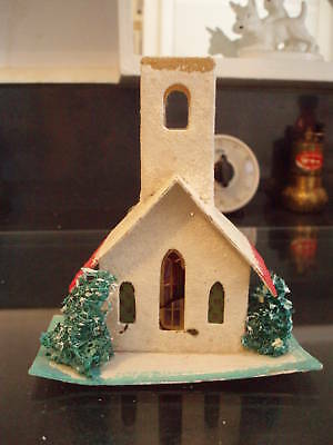 Antique Vintage Christmas Medium Cardboard Church