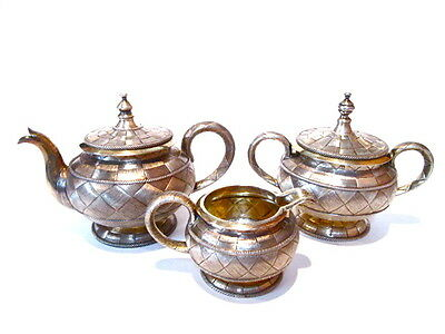 ANTIQUE RUSSIAN 84 SILVER 3 PIECES TEA SET HAND MADE IN 1881