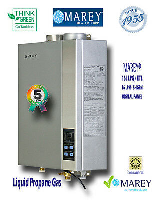 Marey Tankless GA16LP * ETL* Liquid Propane 5.4 GPM Whole House Gas Water Heater