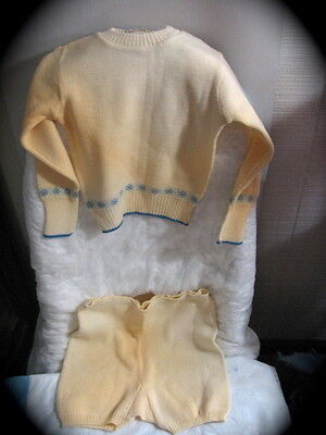 2 BABY CHILDS WOOL SET Pants Sweater Bairnsware England Vintage Doll Mid Century