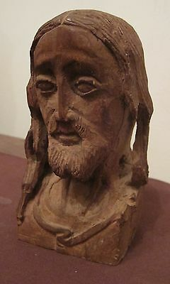 antique 1800's hand carved wood folk art Jesus Christ religious sculpture head