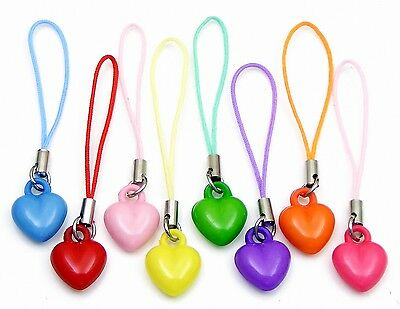 Colourful Heart Charm For Mobile Phone / Bag / Zip Choose Your Colour
