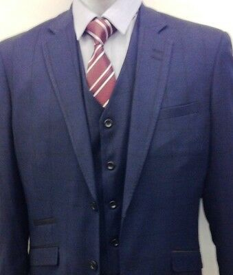 Men's Designer Navy Checked Formal 3 Piece Suit 10% Discounted