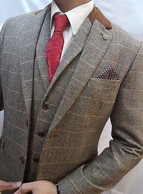 Mens Designer Marc Darcy Tweed look Herringbone Vintage  Jacket Checked  Blazer