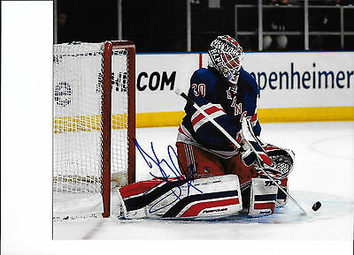 Henrik Lundqvist signed New York Rangers 8x10 Action photo