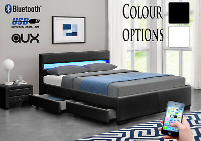Harmin Bluetooth Music Storage LED Faux Leather Bed - Single Double King Size