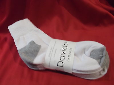 Mens socks ankle/quarter 100% cotton made in Italy 4 pair davido white siz 10-13