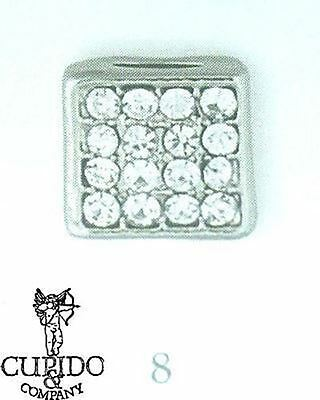 Set 6 Charm quadrato brillantini decorazione bomboniera mis 8 mm art 57802