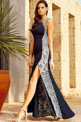 7a82440b430 LACE SIDE GOWN Maxi Party Dress With Fish Tail Detail Navy Small ...