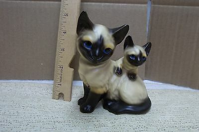 VINTAGE SIAMESE MOTHER CAT & KITTEN FIGURINE PORCELAIN