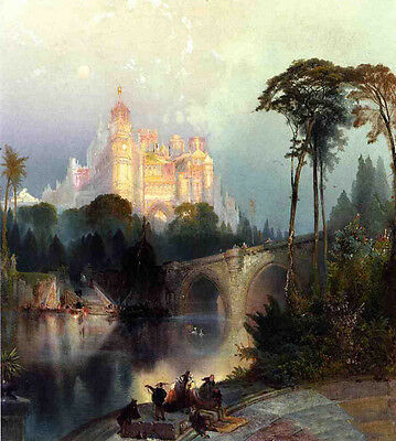 Oil Thomas Moran - Fantastic Landscape people by river bridge with castle canvas