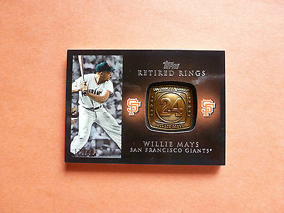 Willie Mays, 2012 Topps Series 1, Retired Number Ring, serial #600/736, Giants