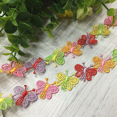 3 Yards Polyester Embroidered Butterfly Applique Lace Sewing Trim DIY Craft