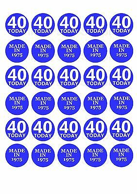 30 MIXED 40TH BIRTHDAY ANNIVERSARY EDIBLE CUPCAKE TOPPERS THICK RICE PAPER 1156