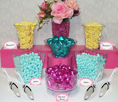Lolly Jars Candy Buffet x 6 Plastic with 4 Scoops 6 Labels Kid Friendly