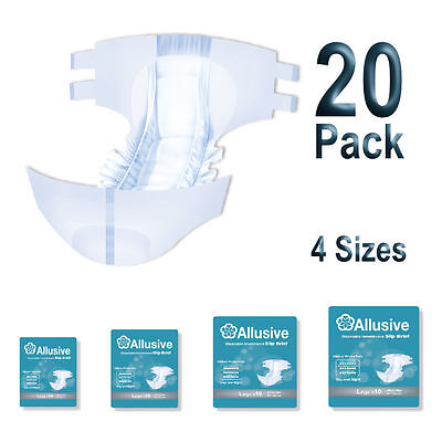 Adult Incontinence All In One Nappy Disposable Slip Brief Diaper Pad 20 Pack