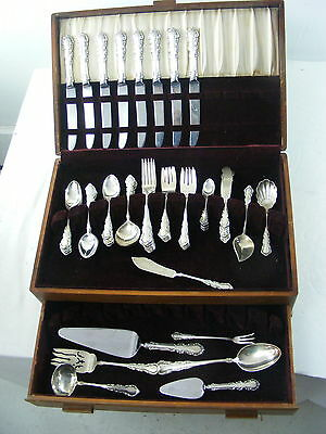 Antique Sterling Silver set  by Reed & Barton, Georgian Rose Pattern, 66 pieces
