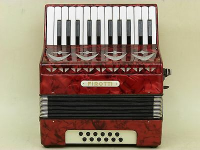 Very Nice Red German Piano Accordion Firotti 12 bass with case.