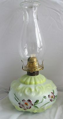 Antique Porcelain Swirl flowers spring hand painted Oil Lamp Queen Anne no2