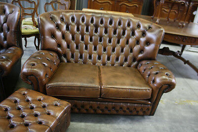 Gorgeous Tufted English Chesterfield High Back Sofa, Brown Leather