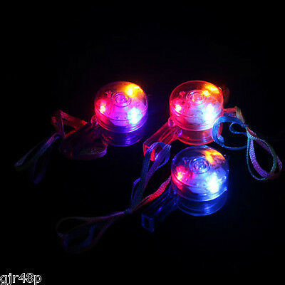 HGL Flashing Whistle & Colour Lanyard LED Light Up Fun In the Dark Party Rave