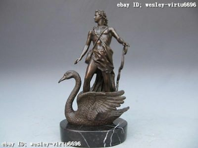 Signed Pure Bronze & Marble Warrior Male Ride goose God Statue