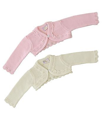 BabyPrem Baby Girls Pink Cream Bolero Fancy Cardigan Cardi Shrug 0 - 23 months