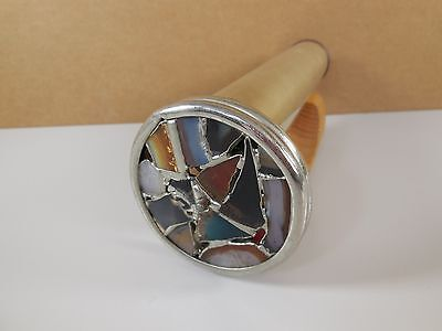 1990 Signed Janice Chesnik Brass and Leaded Glass Kaleidoscope with stand
