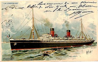 French Lines Liner Ss La Lorraine Le Harve-New York